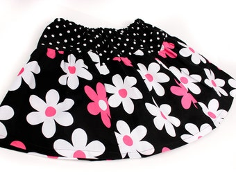 Girls Retro  Skirt Black and Pink with Polka Dot Waistband