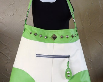White & Green Studded Leather Purse: Tighty Whitey Style
