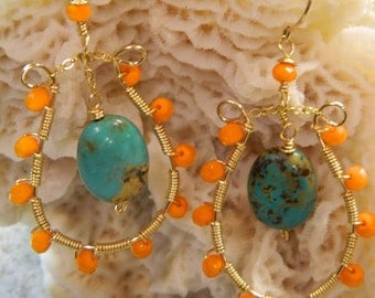 Gold wire wrapped earrings with orange beads and genuine turquoise dangle bead