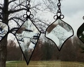 Set of Four Beveled Stained Glass Victorian Ornaments or Sun Catchers