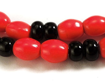 Red Black Round Glass Trade Beads African Rare 69248