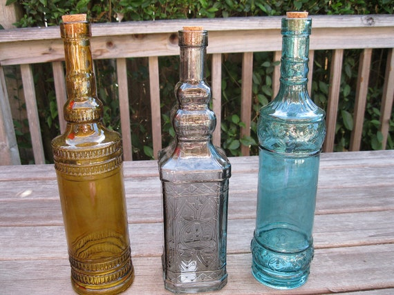 Three embossed 24 ounce decorative colored 12 5 by for Colored glass bottles with corks