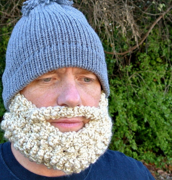 Beard Hat Beanie Knit Grey Blonde Beard
