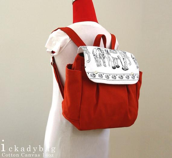 SALE - Unisex Backpack / Rucksack / School Bag in Burnt Orange Canvas / Laptop bag / Diaper bag / Travel bag / OOAK - Hana