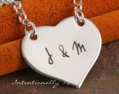 Hand Stamped Necklace - Personalized Custom Jewelry - Sterling Heart Necklace - Initials in my Heart