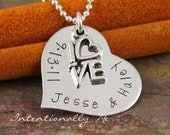 Hand Stamped Sterling Silver Necklace - Personalized Jewelry-  Love Date (Anniversary) Heart Necklace