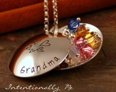 Hand Stamped Grandma Necklace - Personalized Jewelry - Sterling Silver Deluxe Locket- Grandma Little Loves Locket with birthstones