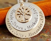 Personalized Jewlery - Hand Stamped Mommy / Grandma Necklace - Mixed Metals - Medium Generations Family Necklace