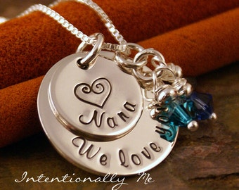 Personalized Jewelry -Hand Stamped Mommy Necklace- Sterling Silver Jewelry - We love you Grandma stack - Personalized Custom Jewelry