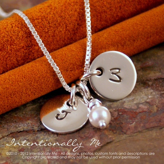 Hand Stamped Necklace - Personalized Sterling Silver Jewelry - Petite Flat Initial Tag Duet (Tiny Dainty Tags)