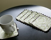 Cloth Coasters, Green and White Damask Trimmed in Brown, Set of 6