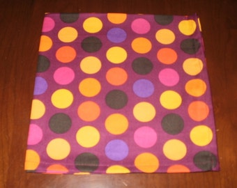 4 Plum Polka Dot Dinner Napkins...17 inches...Stitched Hems Not Serged...FREE SHIPPING