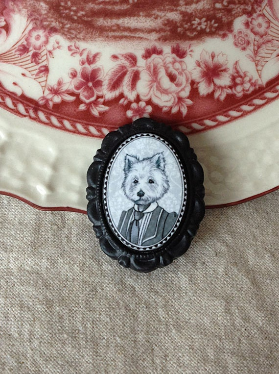 West Highland Terrier Victorian Style Brooch, Dog Brooch, Small (18x25mm) Resin Cameo, Black and White Anthropomorphic Illustration