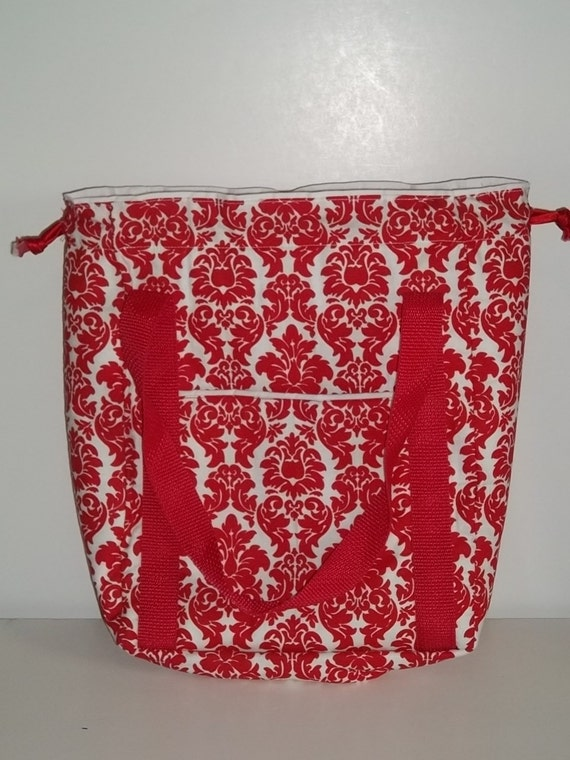 Valentine Sale Knitting Project Bag - Red and White - Available for general purchase