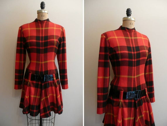 Vintage1980s Dress Plaid Mod Nicole Miller