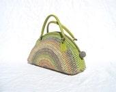 Crocheted bag handbag purse shoulder bag with lime genuine leather handles