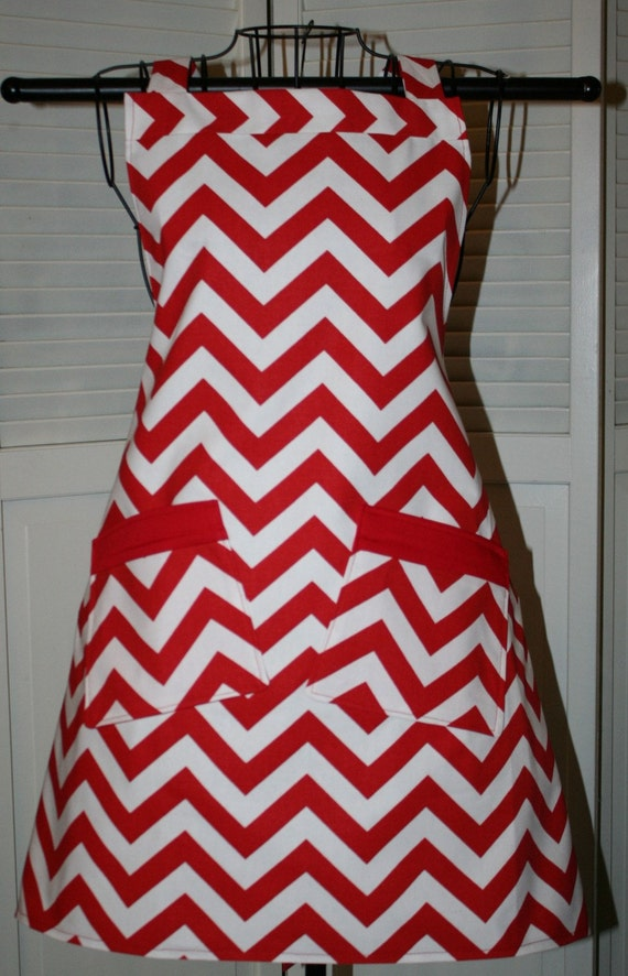 Chevron Full Bib Apron Red and White
