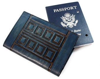 Personalized Passport Leather Holder - River Song Diary (Tardis)