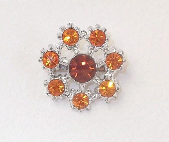 Vintage Circle Scatter Pin in Topaz and Sun Swarovski Rhinestones