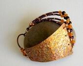 Purple and Orange Hammered Copper Wrap Around Bracelet