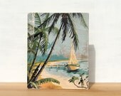 "Tropical Scene Paint by Number Large Art Block -  8"" x 10"", vintage, beach scene, palm trees"