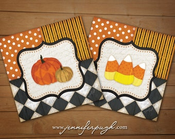 Whimsical Candy Corn Pumpkin Set of 2 - 6x6 Art Print - Halloween or Fall Decor -Fun Patterns -Black, White, Orange, Yellow, Gold