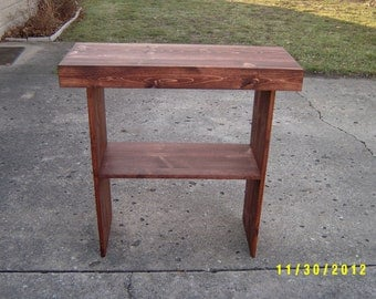 wooden  console sofa table entryway table recycled material custom made farmhouse style