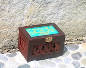 Burgundy cherry  turquoise gold Hand painted  Latticed Sided Pine Novelty Box with  Floral Top