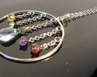 Long Multi Gemstone Blue Topaz Sterling Silver Necklace