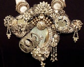 Statement Necklace, Rhinestone n mirror, Haute Couture neck piece, OOAK Hollywood Glam