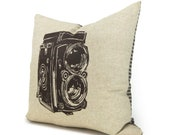 Vintage Camera Decorative Pillow Case for Couch | Mid Century Modern Home Decor | 16x16 Brown, Natural Beige and Houndstooth Cushion Cover