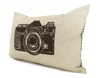 Camera pillow case - Decorative pillow for couch - 12x18 lumbar cushion cover - Brown, Beige and Houndstooth Accent - Modern Rustic Decor
