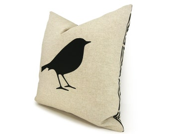 Bird pillow case, cushion cover in black and natural beige with geometric Greek key Accent | 16x16 inches / 40x40 cm | Modern home decor