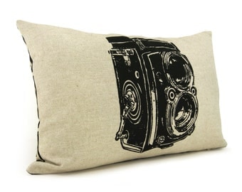 Antique camera photo pillow cover, lumbar 12x18 or 16x16 cushion case | Black, natural beige and geometric accent | Modern industrial decor