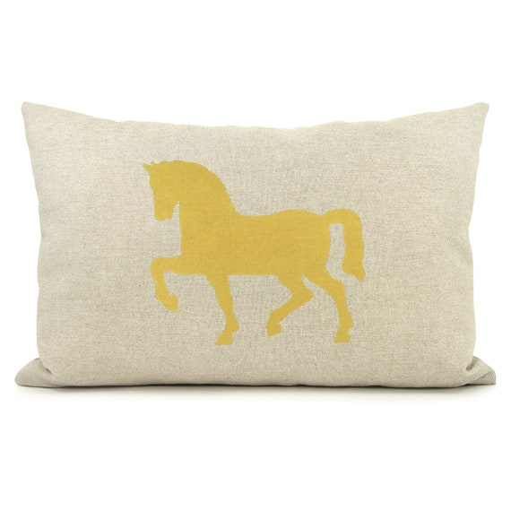 Decorative pillow case in 12x18 inches | Horse print design in mustard yellow, grey and natural with geometric back | Lumbar cushion cover
