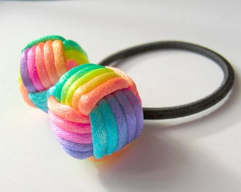 Double Rainbow Balls Ponytail Holders - by Monkey Fist Knot