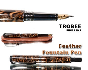 Beautiful Grouse feather pen - fountain pen perfect gift for a bird hunter aston leather pen sleeve