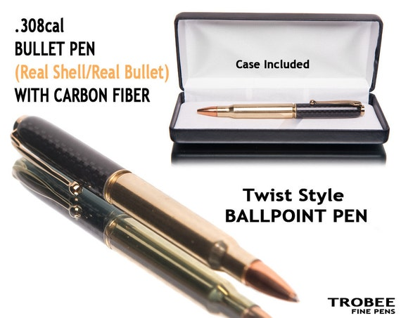 BULLET PEN Carbon fiber real 308 rifle shell and tip Great gift for men or gifts for hunters