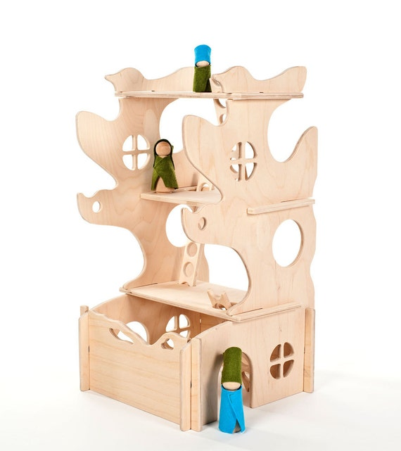 Modular Tree House // This Modular Natural Building Toy will Challenge Kids' Creativity // Waldorf Natural Toy // Modern Dollhouse