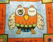 Owl Life is good pink or green Quilt Square 10x10