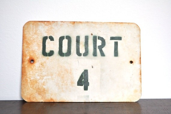 Vintage Metal Court 4 Sign