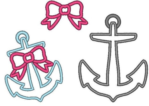 set f anchor girly cute nautical embellishment -single files, machine  embroidery applique designs 4x4, 5x7 and 6x10