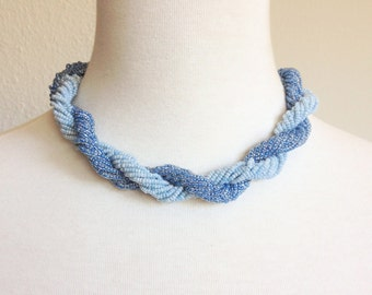 Vintage 1970's Blue Braided Necklace