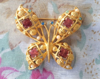 Vintage Rhinestone and Enamel Butterfly Brooch