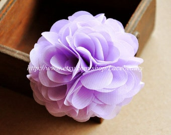 Light Purple Chiffon Flowers 2.75 Inches Wide For  Costume Headware Corsage Supplies 2pcs