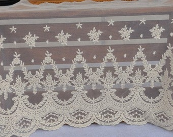 Off White Lace Trims Venice Lace Embroideried Floral Tulle Lace 10.23 Inches Wide 1  yard