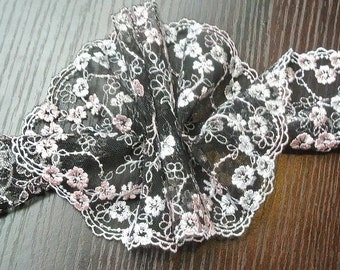 2 Yards Black Tulle Lace Trim White Pink Flowers Emborideried Lace 5.1 Inches Wide
