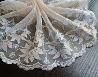 2 Yards Light Beige Lace Trim Lily Flower Embroideried Printed Lace 7 Inches Wide