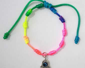 Lucky Hamsa Hand Evil Eye Unique Multicolor Cuff Bracelet  - Adjustable with Rotating Eye