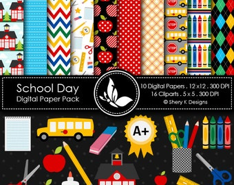 School Day Paper Pack - 10 Digital papers - 16 Cliparts